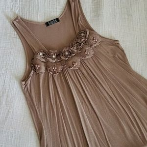 Tan Rose Sleeveless Blouse